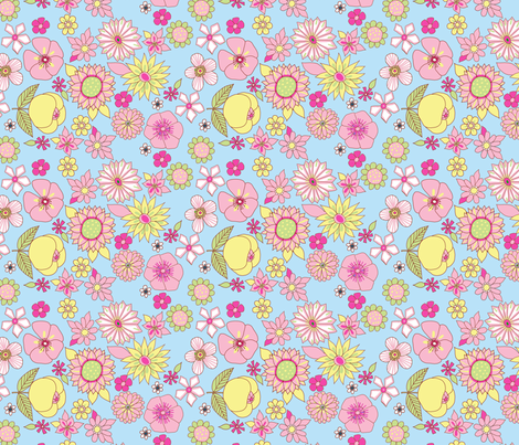 fleur_pop_pastel_fond_bleu fabric by nadja_petremand on Spoonflower - custom fabric