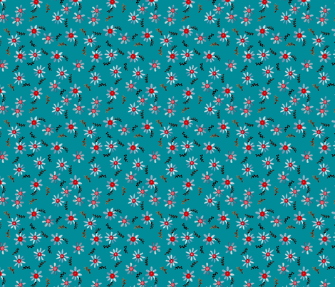 marguerittte_bleu fabric by nadja_petremand on Spoonflower - custom fabric
