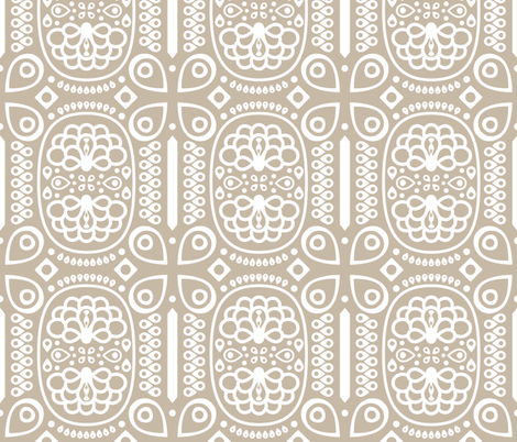 Tribal Peacock - in Warm Gray fabric by katphillipsdesigns on Spoonflower - custom fabric