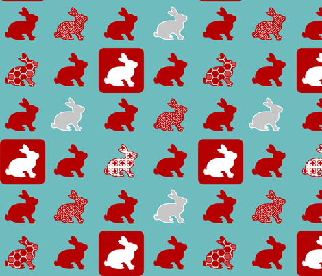 Retro Rabbits fabric by mandyd on Spoonflower - custom fabric