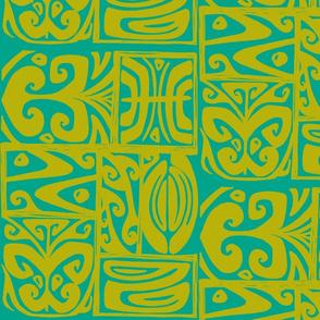 Abstarctiva 2, honolulu market, turquoise, moss