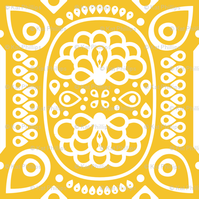 Tribal Peacock - in Sunny Yellow