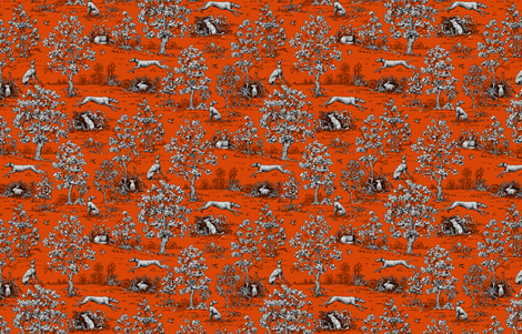 Red and Black Greyhound Toile de Jouy ©2011 by Jane Walker fabric by artbyjanewalker on Spoonflower - custom fabric