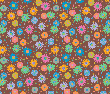 Flower Shower Russet fabric by gracedesign on Spoonflower - custom fabric