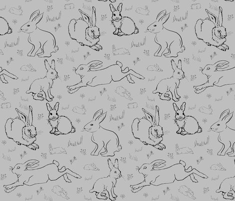 Year of the Silver Rabbit fabric by rengal on Spoonflower - custom fabric
