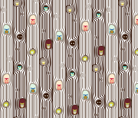 ABC Baby Coordinate - Owl Tree Stripe, color fabric by ttoz on Spoonflower - custom fabric