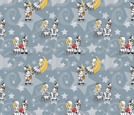 Pierrot's Pleasant Dream fabric by jaana on Spoonflower - custom fabric
