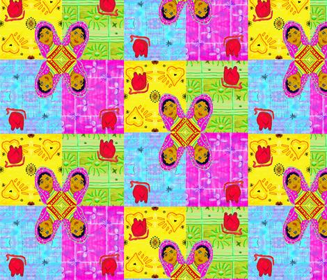 Frida 2 Hearts fabric by kkitwana on Spoonflower - custom fabric