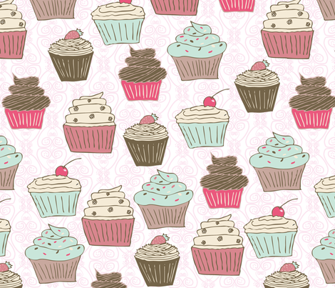 cupcakes curly whirly fabric by babysisterrae on Spoonflower - custom fabric