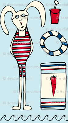 Beach Bunny - Whimsical Summer Nautical Blue