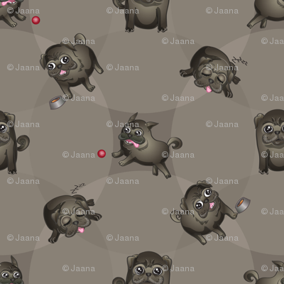 Pugs! (Black Pugs on Gray)