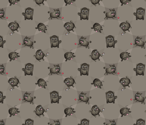 Pugs! (Black Pugs on Gray) fabric by jaana on Spoonflower - custom fabric