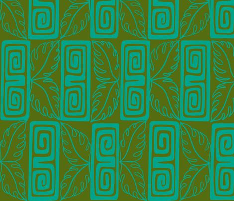 bora Bora Intercontinental guest, aqua,moss fabric by sophista-tiki_by_dawn_frasier on Spoonflower - custom fabric