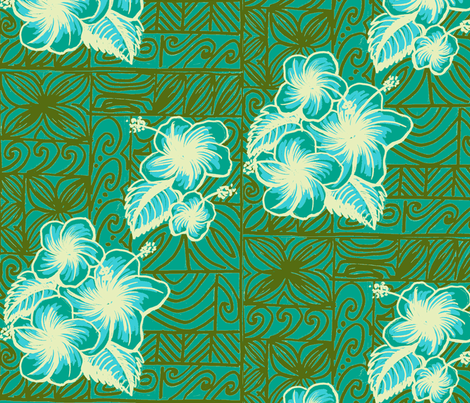 Old School Hilo, hibiscus, blue fabric by sophista-tiki_by_dawn_frasier on Spoonflower - custom fabric