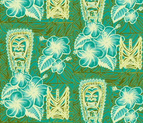 Old School,  Hilo, Ku, Blue fabric by sophista-tiki_by_dawn_frasier on Spoonflower - custom fabric