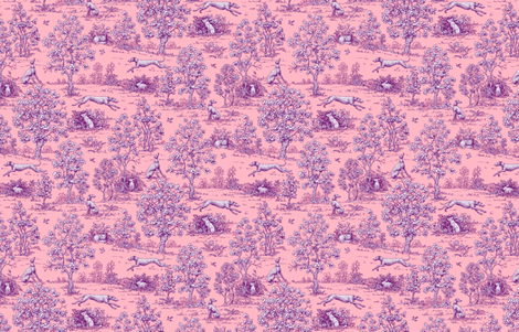 Pink and Purple Greyhound Toile ©2011 by Jane Walker fabric by artbyjanewalker on Spoonflower - custom fabric