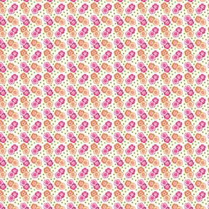 Tiny orange and magenta flowers with green dots, 100px
