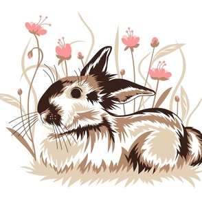 Rabbit in flowers