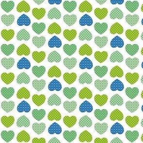 Retro Hearts Blue & Green