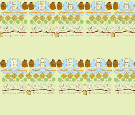 Breakfast in the Mouth Fair Isle Design - light green background fabric by sparegus on Spoonflower - custom fabric