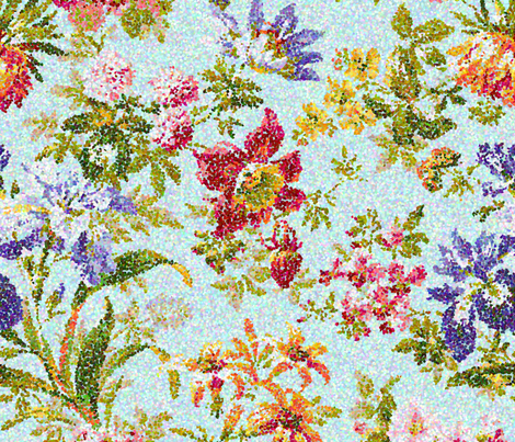 aqua flora fabric by littlerhodydesign on Spoonflower - custom fabric