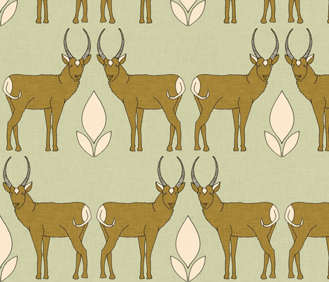 pronghorn_and_leaf fabric by holli_zollinger on Spoonflower - custom fabric
