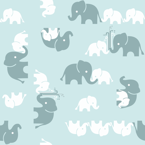 ABC Baby Coordinate - Elephant, scattered blue fabric by ttoz on Spoonflower - custom fabric