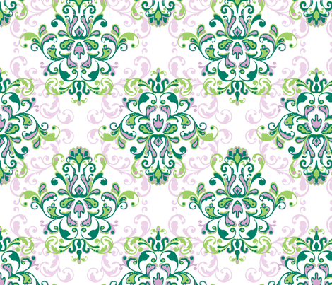 Green and Purple Rococo Pattern fabric by rdewing on Spoonflower - custom fabric