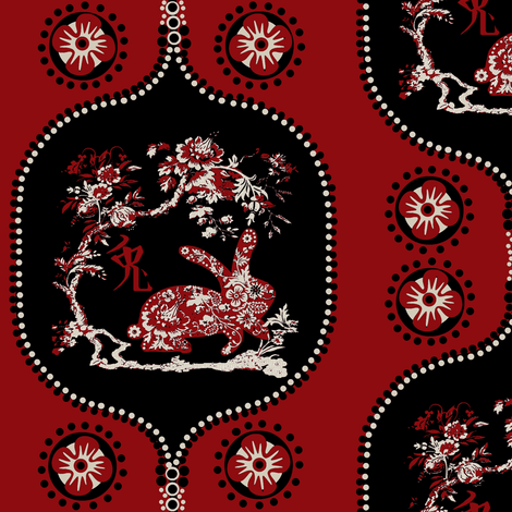 asian rabbit fabric by paragonstudios on Spoonflower - custom fabric