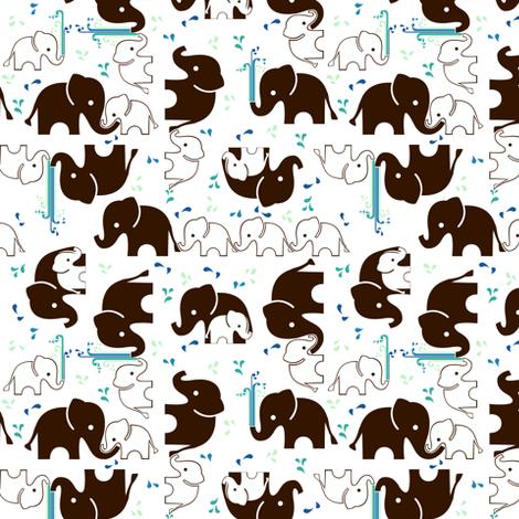 ABC Baby Coordinate - Elephant Splash, white fabric by ttoz on Spoonflower - custom fabric