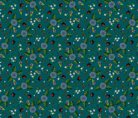©2011 my kitchen table teal fabric by glimmericks on Spoonflower - custom fabric
