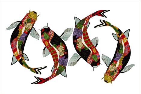 koi white tea towel fabric by scrummy on Spoonflower - custom fabric