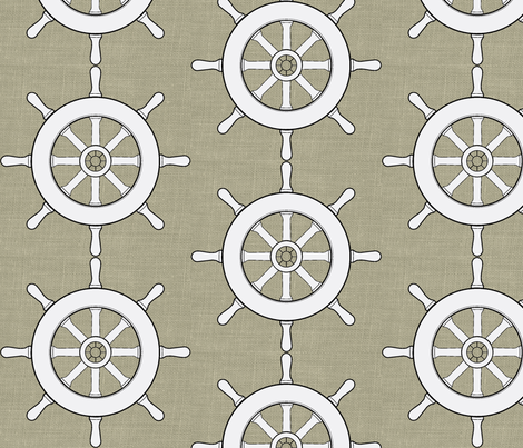 Captain's Wheel in White fabric by softnyellow on Spoonflower - custom fabric