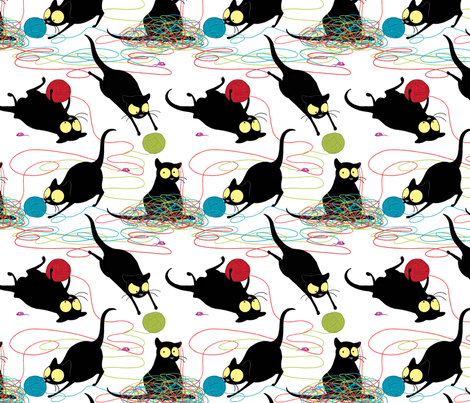 Echo playing with Yarn fabric by celestegs on Spoonflower - custom fabric
