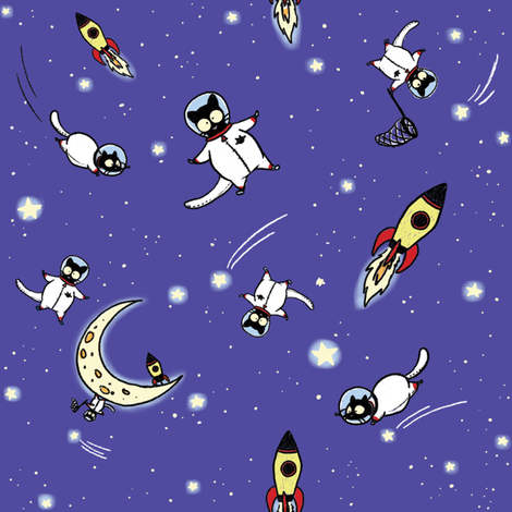 Astronaut Echo full colour fabric by celestegs on Spoonflower - custom fabric