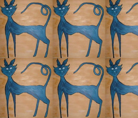 blue kats fabric by ansley37 on Spoonflower - custom fabric