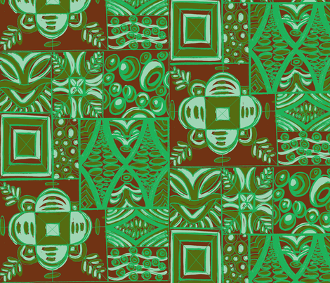 Mana Mohala mint on brown fabric by sophista-tiki_by_dawn_frasier on Spoonflower - custom fabric