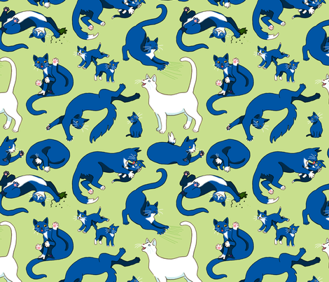 Black, White and Tuxedo Cats fabric by natashad on Spoonflower - custom fabric