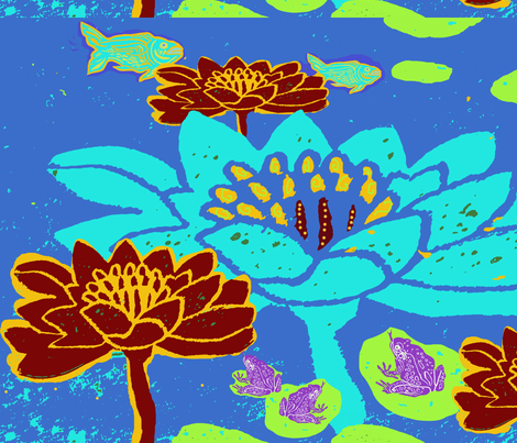 Lily Pond Blue fabric by bad_penny on Spoonflower - custom fabric