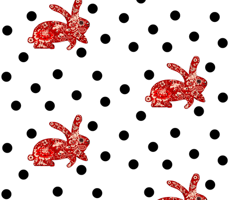 rabbit / white fabric by paragonstudios on Spoonflower - custom fabric