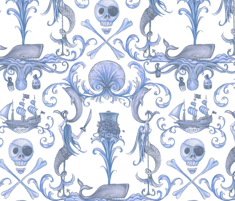 Rococo and a Bottle of Rum, Blue fabric by ceanirminger on Spoonflower - custom fabric