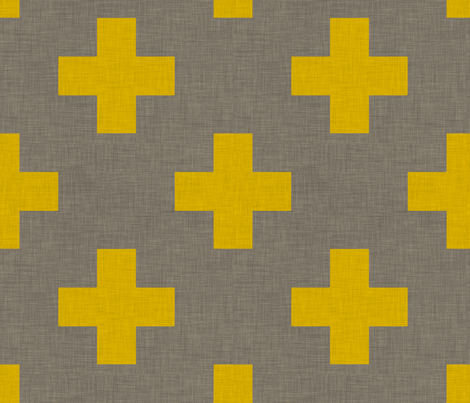 plus_one_linen_yellow fabric by holli_zollinger on Spoonflower - custom fabric