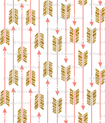 Small Glitter Arrows: Pink & Gold