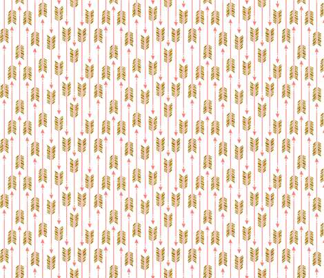 Small Glitter Arrows: Pink & Gold fabric by nadiahassan on Spoonflower - custom fabric