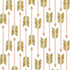 small glitter arrows: coral & gold