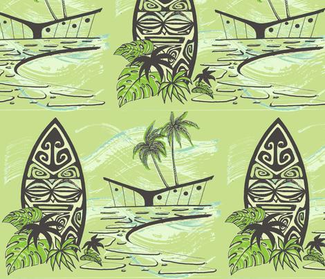 Easy Living , Shield,  fabric by sophista-tiki_by_dawn_frasier on Spoonflower - custom fabric