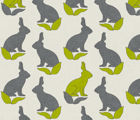 rabbit_linen_greens fabric by holli_zollinger on Spoonflower - custom fabric