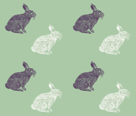 White & Purple rabbits on green fabric by sew_delightful on Spoonflower - custom fabric