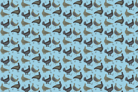 pigeons_on_blue fabric by antoniamanda on Spoonflower - custom fabric