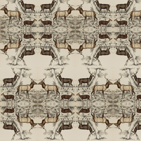 vintage print - deers fabric by ravynka on Spoonflower - custom fabric